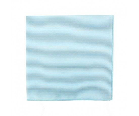 Pochette de costume à fines rayures bleu ciel Light blue thin stripe pocket square                     Le Colonel Moutarde, hand made in France