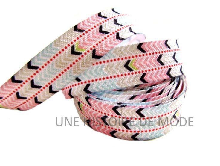 Ruban élastique flèches - 15 mm - ( au mètre )