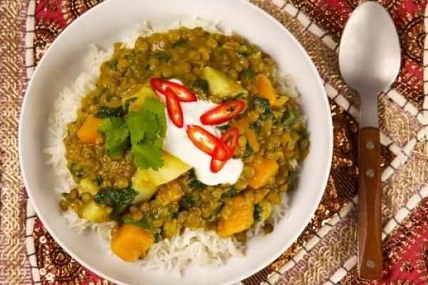 Lentil Curry with Squash and Spinach