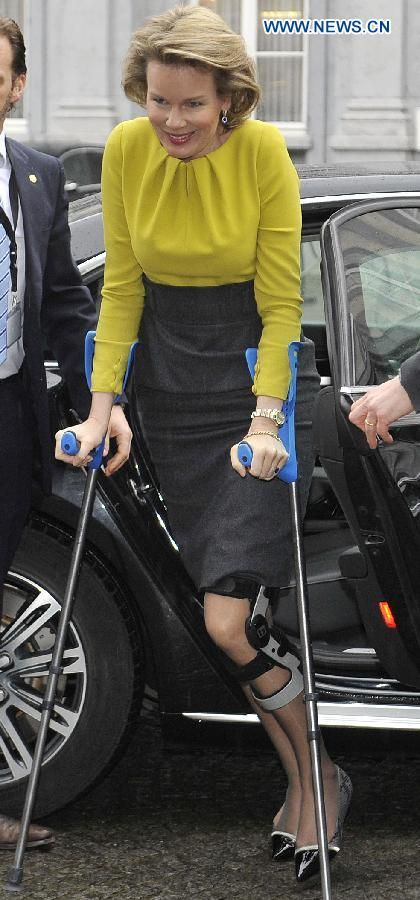 Belgian Queen Mathilde arrives to attend a high-level international conference on Ebola, in Brussels, capital of Belgium, March 3, 2015.