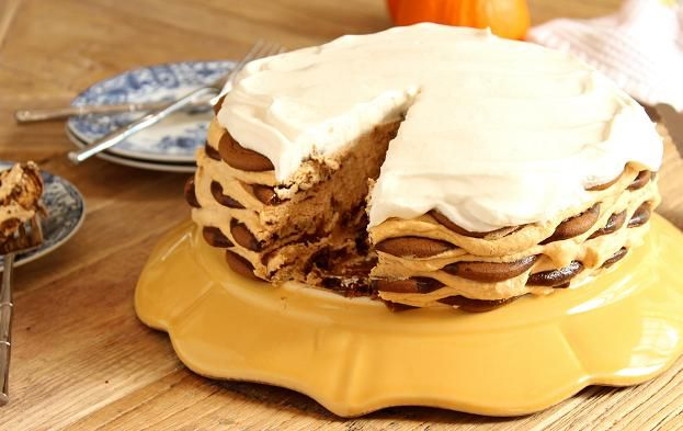 Ginger Snap Pumpkin Icebox Cake recipe  | A classic no bake dessert with a fall twist!