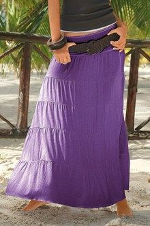 "LEAST WORN ~ ""Long Tiered Skirt"", Colour: Purple, Fabric: Viscose Elastane, Brand: Urban, Store: EziBuy"