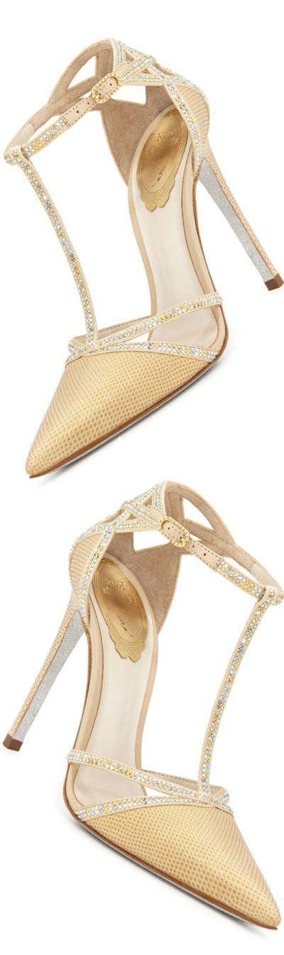 Rosamaria G Frangini | Shoe Addict | Rene Caovilla Lizard & Crystal T-Strap Pump LOOKandLOVEwithLOLO