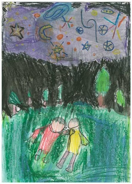 """Camping Constellation by Rishi D., Grade 1.  This artwork (originally sized at 6""""x10"""") was chosen to be reproduced as a 20""""x 30"""" poster for his school's fundraiser. Rishi's Artist Statement: """"I drew the picture because when I went camping, I saw many constellations. I looked at the constellation with my brother and felt that the earth was not that big of a place."""""""