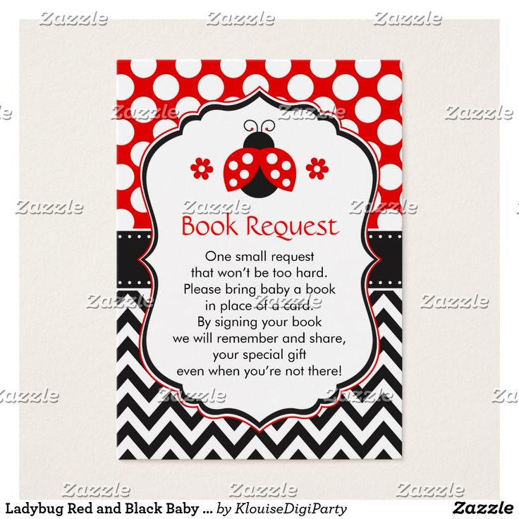 Ladybug Red and Black Baby Shower Book Request Business Card