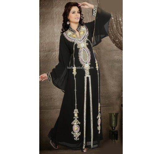 Black Faux Georgette Fashionable Dubai #Kaftan