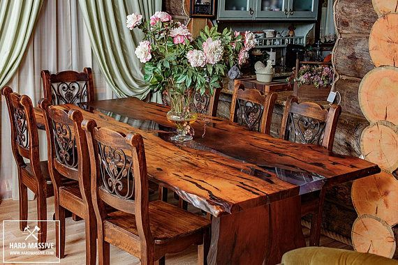 A Beautiful Dining Table In Rustic Style For 6 8 Person Is Made Of Slabs Of Wood Grab With A Very Beautiful Textu Wood Dining Table Wood Table Solid Wood Table