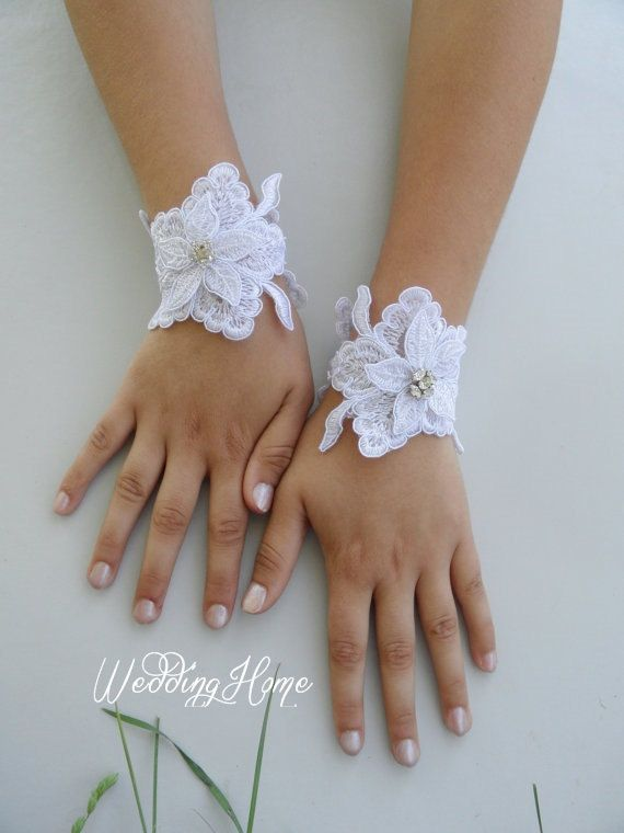 Free Ship Bridal CUFF ivory  lace gloves Fingerless by WEDDINGHome, $25.00
