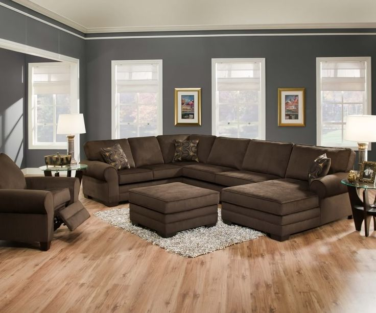Dazzling brown u-shaped sectional sofa design inspiration in grey wall painting modern living room. Find more ideas on www.dirroo.com
