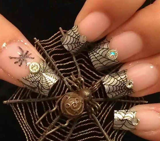 Gold / black spiderweb french tip - HALLOWEEN NAILS - holidays - spider - nail polish