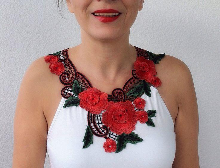 Red Lace Necklace, Statement Necklace, boho bib statement, fashion | seaasparagus - on ArtFire