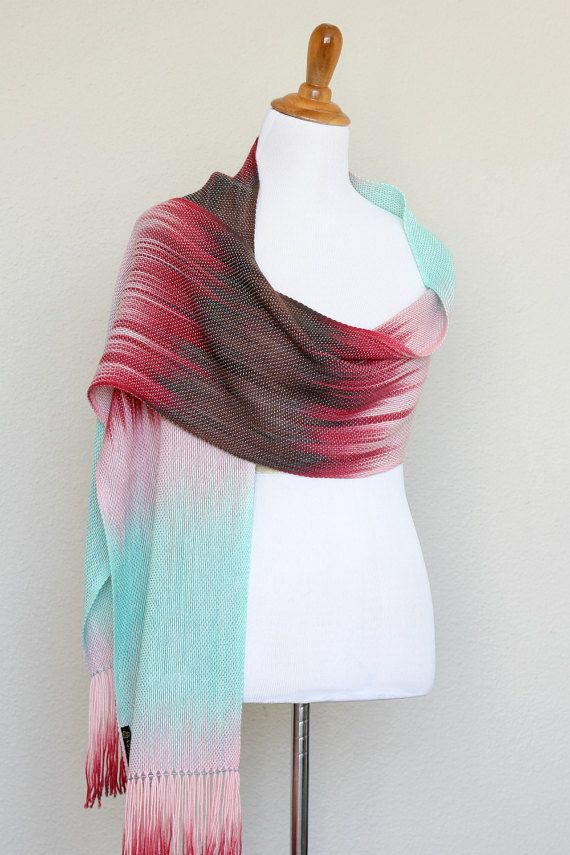 """Valentine gift! Pashmina wrap, woven long scarf, handwoven wrap with gradually changing colors from mint to pink, red and chocolate brown.  Dimensions: L: 78"""" with 6"""" fring... #kgthreads"""
