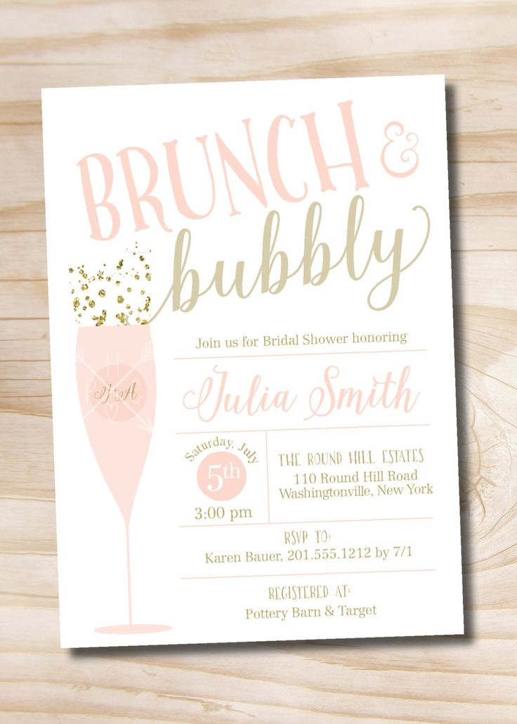 Brunch and Bubbly Bridal Shower Invitation, Confetti Glitter Bridal Shower Invitation - Digital or Printed Invitation by PaperHeartCompany on Etsy