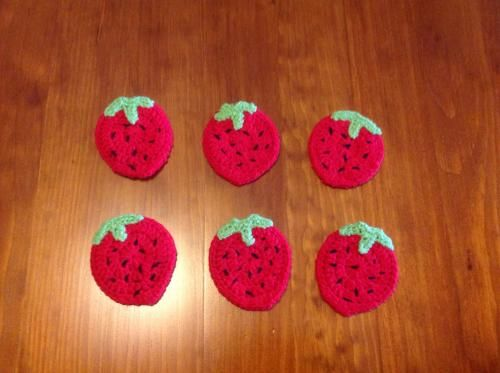 Set of Strawberry Crochet Coasters from Purple Patch Art and Crafts
