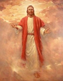 Second coming of Jesus Christ from heaven in the air of clouds drawing art image download free religious photos