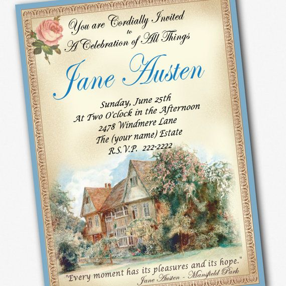This is the kind of invitation I would want to hold a Jane Austen Party. Jane Austen Party Invitation Custom 5 x 7 by PartyEverAfter