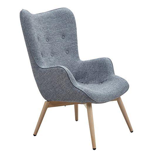 Designer Ohren Sessel Mit Armlehnen Aus Wolle Grau