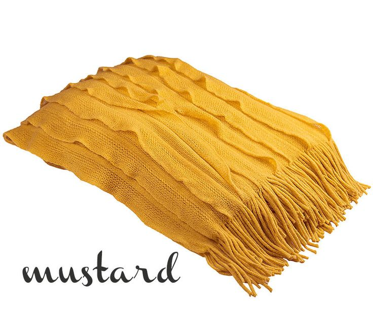 MUSTARD Bambury Cambridge Knitted Ripple Throw Rug Blanket - Sofa Living Decor #Bambury