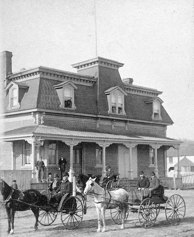 Two Carriages outside Moore's Hotel  ca.1880 ::  Chelsea, Quebec  ::  from the collection of the Gatineau Valley Historical Society
