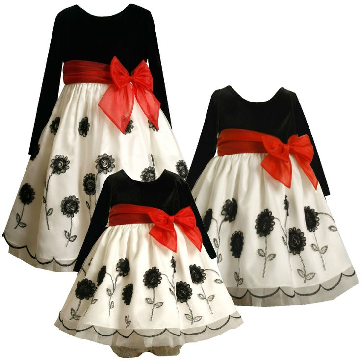 Amazon.com: Size-18M BNJ-9493X 2-Piece BLACK WHITE EMBROIDERED FLOWER STEM BORDER Special Occasion Flower Girl Holiday Party Dress,X19493 Bonnie Jean BABY/INFANT: Clothing