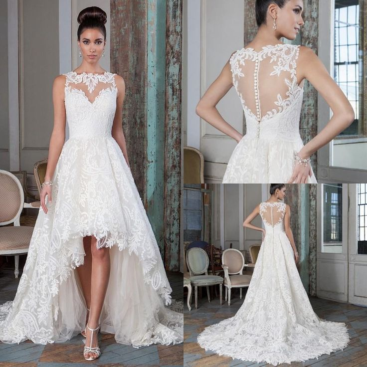 Plus Size Lace A Line Wedding Dresses 2016 High Low Court Train Summer Beach Bridal Gowns Bateau Neck Sheer Ons Back