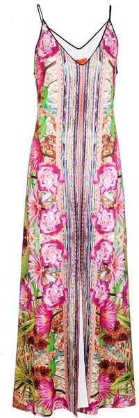 I like that it has a long stripe down the front to offset the floral...Fools Gold Maxi Dress
