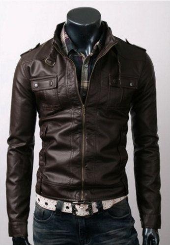 Handmade men brown belted leather jacket, men front flap button pockets belted Brown leather jacket. Only $129.99