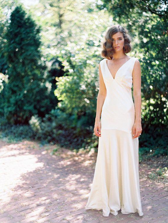 Silk Satin Bias-Cut Wedding Gown, 1930s Inspired Bias Cut Handmade Gown - Heavens