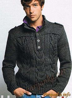 Мужские пуловеры спицами. Подборка моделей-2