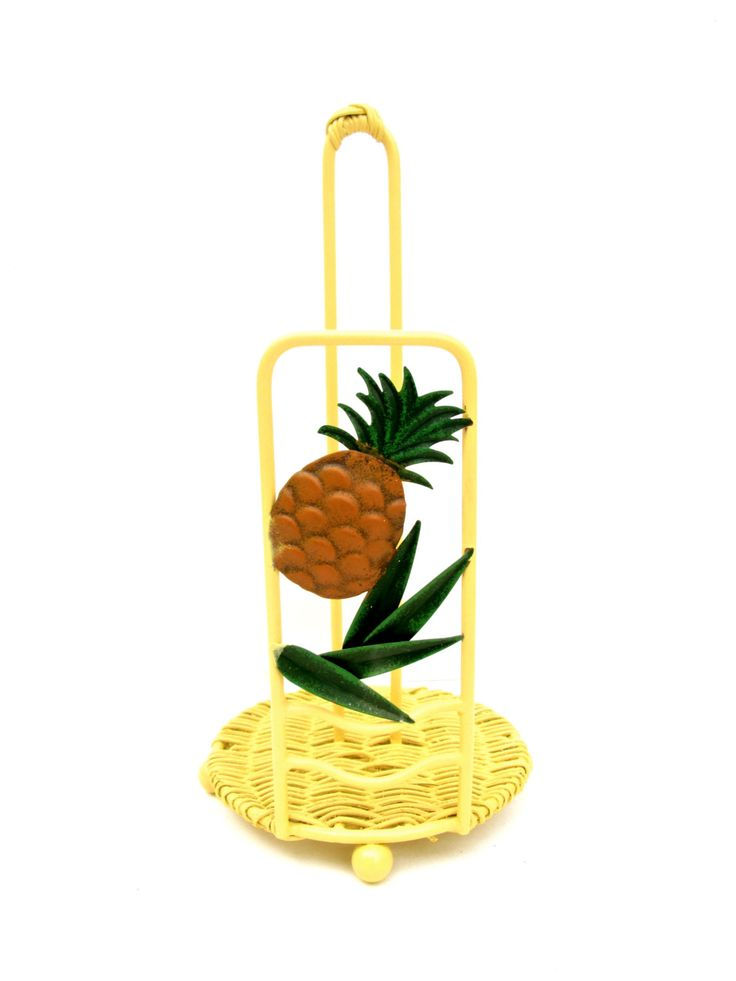 Vintage Pineapple Paper Towel Holder || Yellow Metal & Rattan Bamboo Pineapple Kitchen Storage Beach House Tropical Chic Decor by ELECTRICmarigold on Etsy