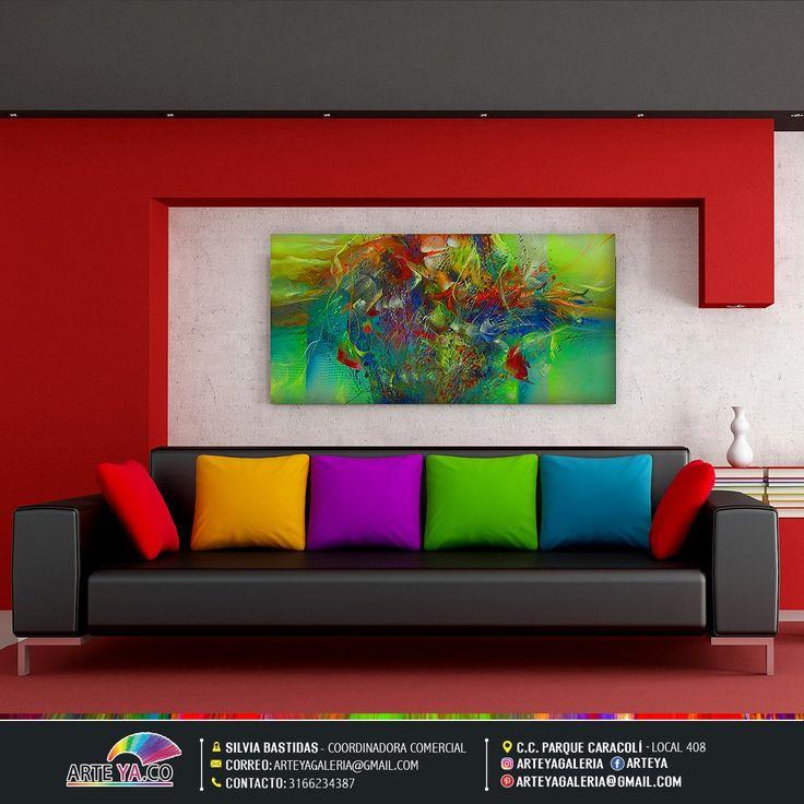 Algunos cuadros de arte abstracto no pueden falta en un decoración moderna. #ArteYa Obra: Abstracto vida y color Autor: Rey Jerez Medidas: 120 cm x 60 cm