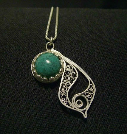Bud pendant- fine silver and turquoise
