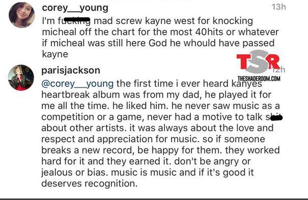 Heres Paris Jacksons response to Kanye West beating Micheal Jacksons top 40 hits record