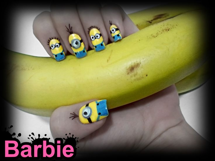 Minion Nails - Minion shaped nail design, Cute yellow characters from the animated movie Despicable Me.
