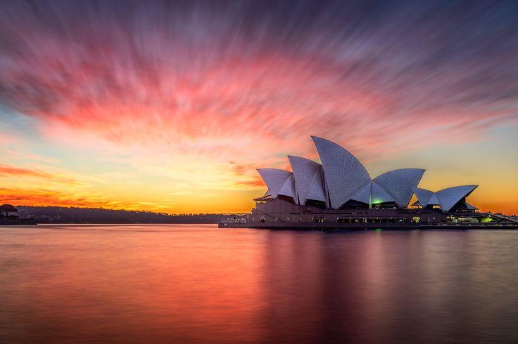Sydney Opera House Red Sky by Martin Tyler