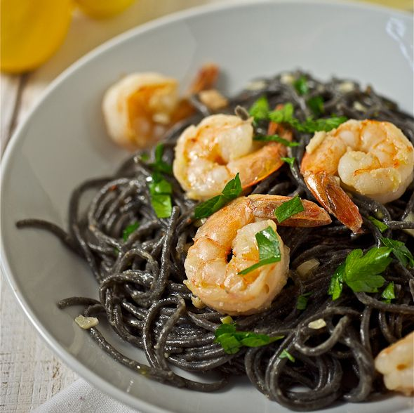 Try this #recipe #shrimp #pasta  Squid Ink Spaghetti with Shrimp and Truffle Oil