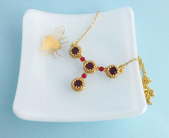 Red and Gold Necklace Ruby Swarovski Crystal Necklace 40th