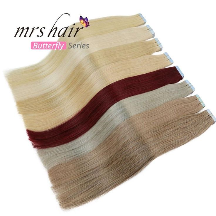 MRSHAIR 6# Skin Weft Human Hair Straight 10pcs 20pcs Tape In Extension Non-Remy Hair Double Sided Tape Hair 16″ 18″ 20″ 22″ 24″