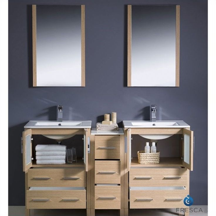 Image Of Fresca Bari Torino Bathroom Vanity Set in Oak