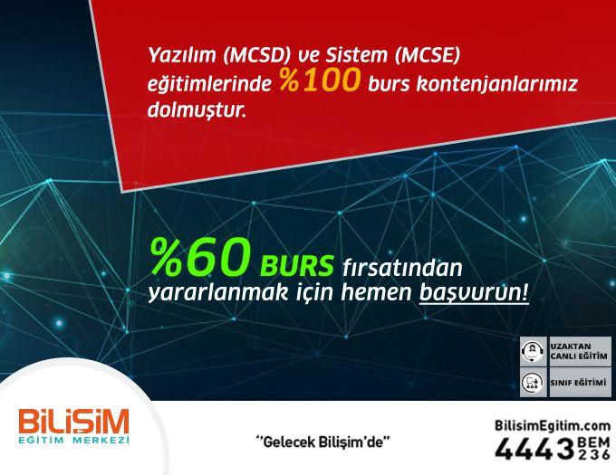 Yazılım (MCSD) ve Sistem (MCSE) Eğitimlerinde %60 Burs Fırsatı! Yoğun talep gören Yazılım (MCSD) ve Sistem (MCSE) eğitimlerinde %100 burs kontenjanlarımız dolmuştur. Göstermiş olduğunuz yoğun ilgi için teşekkür ederiz. Yazılım (MCSD) ve Sistem (MCSE) eğitimlerinde geçerli olan %60 burs fırsatından yararlanmak için hemen başvurun! http://bit.ly/BursFırsatı 444 32 36  #bilişimegitim #bilişimeğitimmerkezi #onlineeğitim #uzaktancanlıeğitim #microsoftoffice #autocad #SAP2000 #matlab #photoshop…