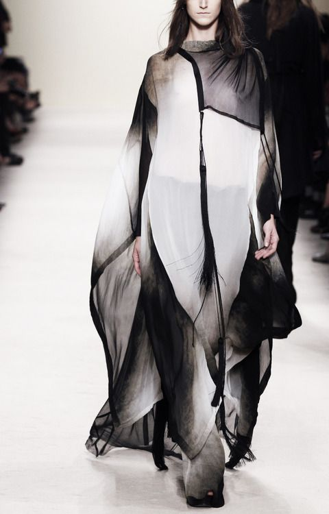 Graphic Ghostly Prints - beautifully light & floaty, monochrome gradient dress // Ann Demeulemeester