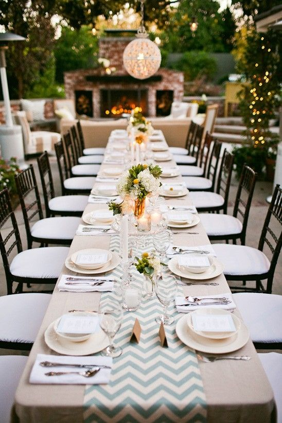 Love the beige tablecloth with the colored chevron runner (could make it the light green of the wedding)