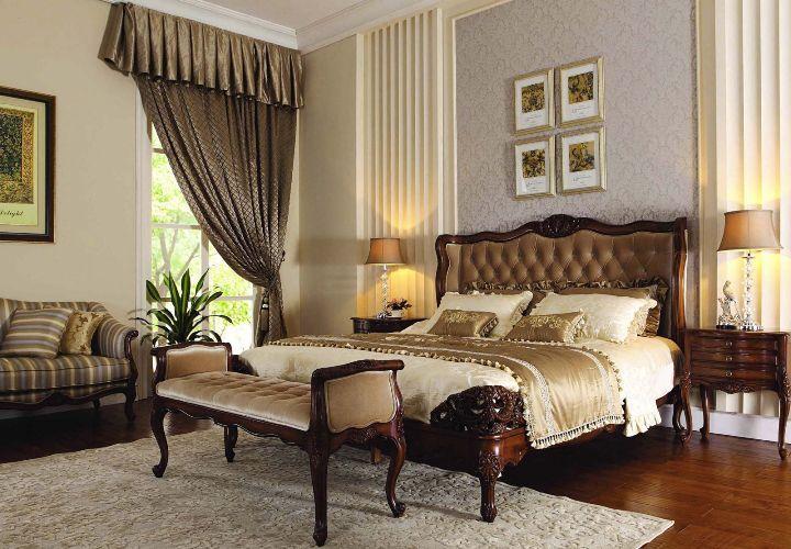 Мебель шато из красного дерева в спальне