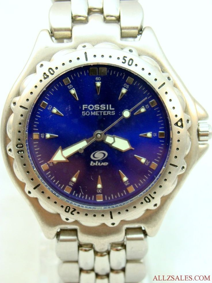 Digital Indicator With Rotatable Bezel : Fossil blue am meter watch rotating bezel dial