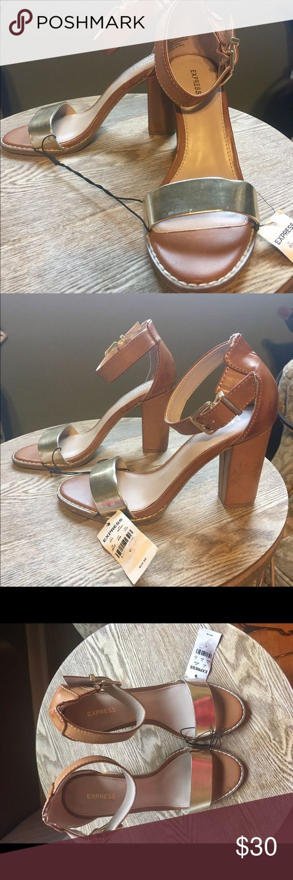 """NWT Express tan & gold size 6 heels! NWT Express tan heels with gold strap! From this summers collection! Size 6, roughly 3"""" heel! Express Shoes Heels"""