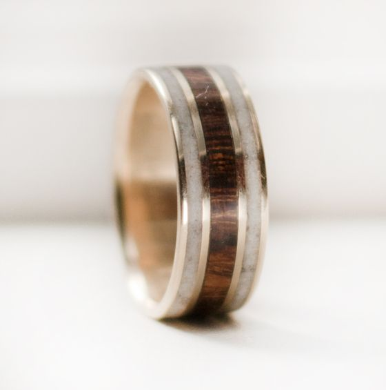 coolest men's wedding band ever: Image of 10k Gold ring with Desert Ironwood and Antler inlays- awesome handmade men's wedding bands