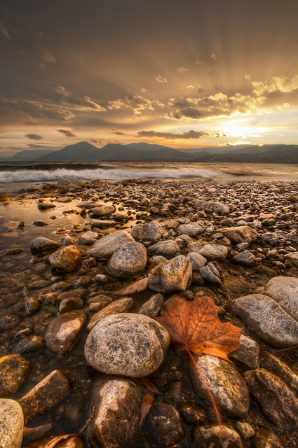 Radiant plumes of light illuminating a gorgeous autumn beachscape in the Okanagan. British Columbia