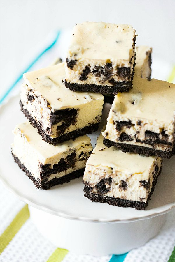 Oreo Cheesecake Bars from the Brown Eyed Baker!!    These look so incredibly rich with all of that cream cheese and Oreo goodness!!