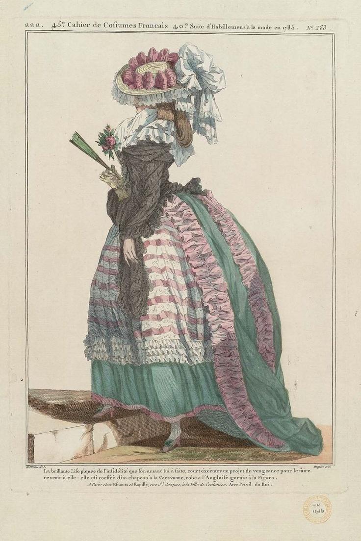 1785 La brillante Lise piquée de l'infidélité que son amant lui a faite, court éxécuter un projet de vengeance pour le faire revenir à elle; elle est coeffée d'un chapeau à la Caravanne, robe à l'Anglaise garnie à la Figaro.
