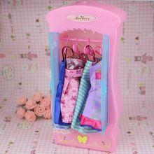 Puppe zubehör möbel miniatur schrank rosa barbie möbel kleiderschrank prinzessin schlafzimmer schrank für mädchen mini spielzeug schöne(China (Mainland))